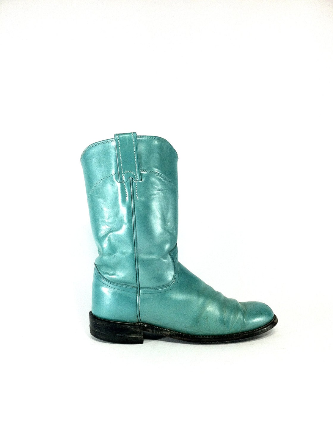 turquoise leather justin roper boots 7 by melissajoyvintage