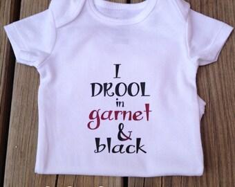 Onesie - I Drool Garnet & Black