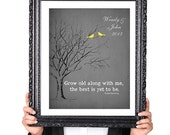 The BEST is yet to be, Personalized WEDDING Gift, Tree Print, Birds, Gift for Husband Wife Fiance, Vintage Image, Gray Yellow 8x10