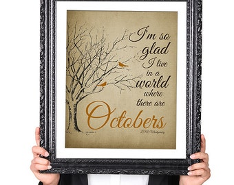 Octobers, Lucy Maud Montgomery, Fall Art Print, Autumn Decor,Tree Art, Bird Silhouette, Library Decoration, Brown Orange 8x10