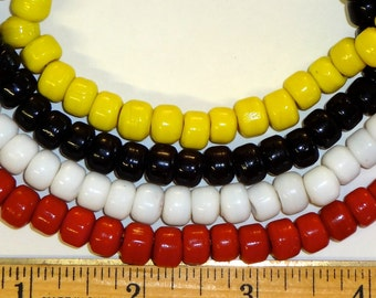 200 Glass Crow Beads, 9 mm Pony Beads, Red, White, Yellow, Black, Mixed Colors