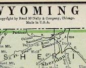 Wyoming State Vtg Map, 1928