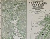 Norway & Sweden Vtg Map, 1928
