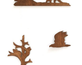 Woodland Mobile  - Wood Mobile - Wooden Mountain Mobile