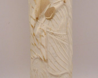 Carved Bone Vase of Shepherd With His Sheep