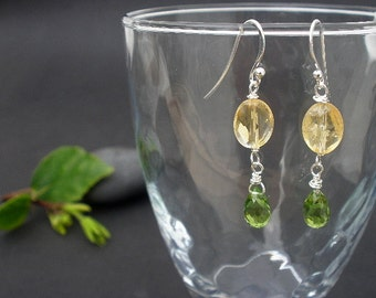 Gemstone Peridot Faceted 9mm Briolette - Gemstone Citrine Faceted 8x10mm Oval - 925 Sterling Silver Wire Wrapped Long Dangle Earrings