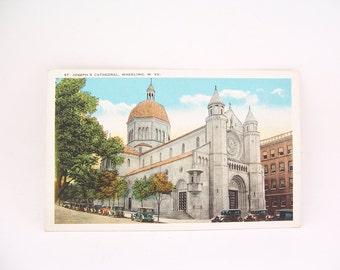 Vintage Postcard St. Joseph's Cathedral Wheeling W. VA