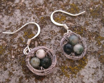 Three Bird Nest Earrings with Speckled Eggs: Green, White, Light Green, Earrings for Mom