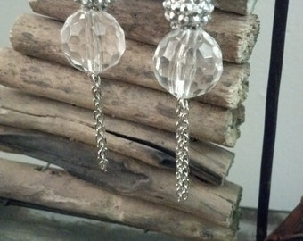 Bold Elegance bead and chain earrings