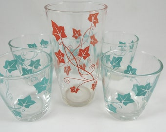Vintage Anchor Hocking Ivy Drinking Glasses - Set of 6 Retro Glasses