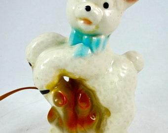Vintage Lamb Nursery Lamp - Ceramic 1950's