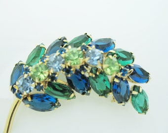 Juliana Style Gorgeous Blue and Green Brooch Pin Big Gold tone