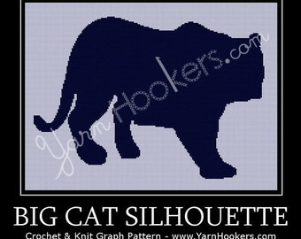 Big Cat Silhouette  - Afghan Crochet Graph Pattern Chart - Instant Download