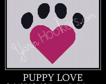Puppy Love - Afghan Crochet Graph Pattern Chart - Instant Download