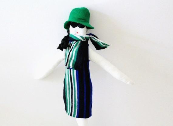 Handmade fabric doll Fulana wool felt black hair green blue black white striped doll la dolce vita ooak girl art doll soft sculpture decor
