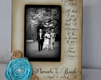 Wedding  Distressed Vintage Picture 4x6 Parents of the Bride Photo Frame - Personalized Gift - Keepsake