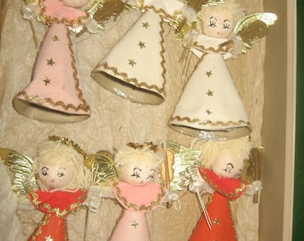Vintage Christmas Angels, Set of 6 - 1960s, great condition