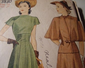 Vintage 1940's Simplicity 3830 Dress and Cape-Jacket Sewing Pattern, Size 14, Bust 32