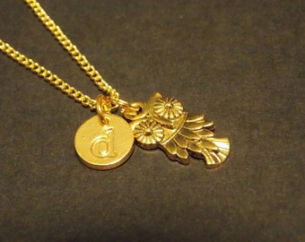 Personalized Charm Necklace- Gold Owl