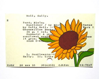 Sunflower Library Card Art - Print of my painting of a sunflower done on a library card catalog card for the book Sunflower