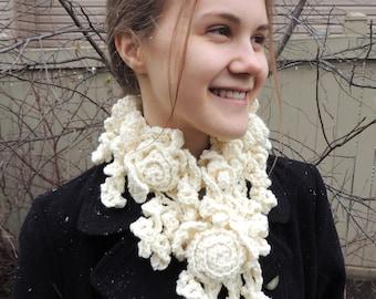 RoseOnie Scarf in a Ivory soft bulky Merino Wool, Neck warmer, Crochet Scarf, Rose Lace, Merino, Ivory Rose Scarf, Sculptured Lace Scarf