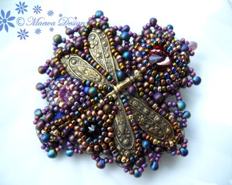 Bead embroidered Purple brooch DRAGONFLY with Swarovski Rivoli cristal crystal Beadwork  Seed beaded Jewelry OOAK