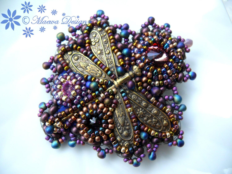 Bead embroidered purple brooch dragonfly with swarovski rivoli