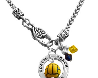 Personalized, Water Polo Necklace, Swarovski Necklace, Team Color, Water Polo Charm, Coach Gift, Water Polo Mom, Team Gift, (Made to Order)