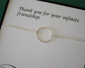 12 Bridesmaid Karma Bracelets, Bridesmaid Gift, Friendship Jewelry, Sterling Silver, Bridesmaid Thank You Card, White Pearl, Silver