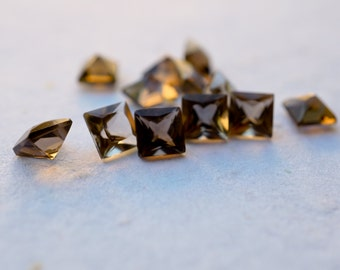 6mm Princess cut Smoky Quartz Gemstones. Square shape. - 2 pieces