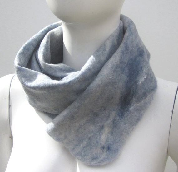 Wool Felted Scarf Man Woman Grey Navy White