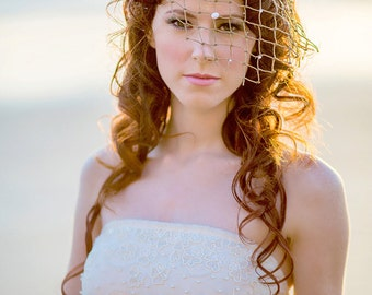 Unique Beach Wedding Fish Net Veil with Seashells & Pearl Beads