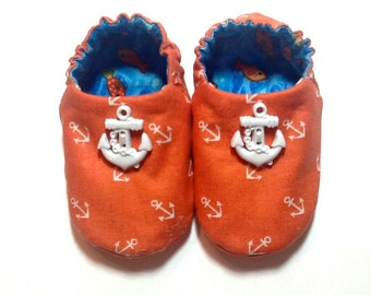 Nautical Baby Boy Shoes with Anchors, 0-6 mos. Baby Booties, Soft Sole Shoes, Crib Shoes, Nautical Baby Shoes, Soft Booties, Baby Boy Gift