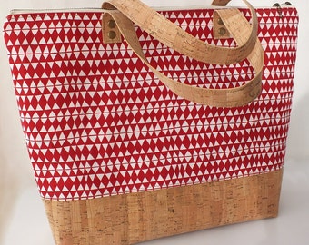 Cork tote bag, cork bag, cork shopping bag, shopper bag, diaper bag - Tribal ON SALE before was 120 euros