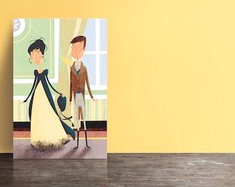 Jane Austen's Pride and Prejudice postcards (set of 5) - Elizabeth arrives at Netherfield.