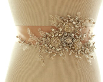 Bridal Crystal Pearl Sash, Wedding Rhinestone Beaded Belt