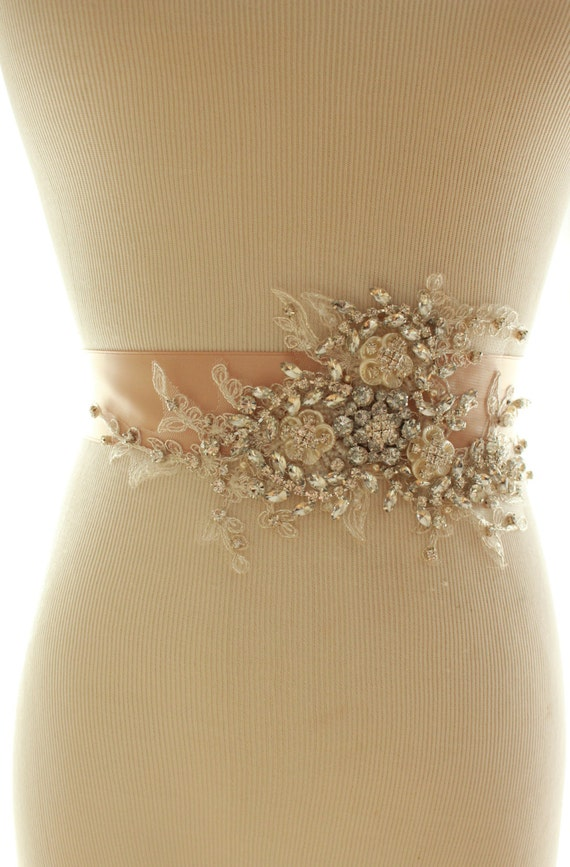 Bridal Crystal Pearl Sash, Wedding Rhinestone Beaded Belt
