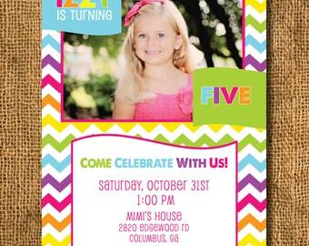 Chevron Rainbow Colorful Girl Photo Birthday Invitation