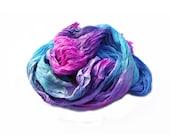 Rose Sky -  pink, magenta,  green, turquoise, blue silk scarf.
