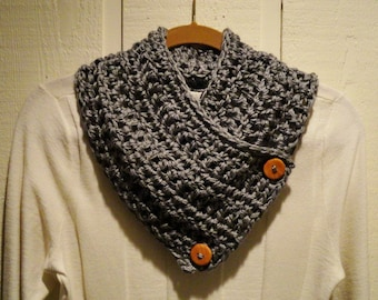 Crochet Button Scarf Cowl Heather Gray Two Wood Buttons CLASSIC  Neckwarmer Scarflette
