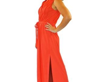 1960s Maxi dress. Shirt dress by E.Stewart. Orange dress. Boho  dress. Shift Dress. Mad Men fashion. Summer dress.