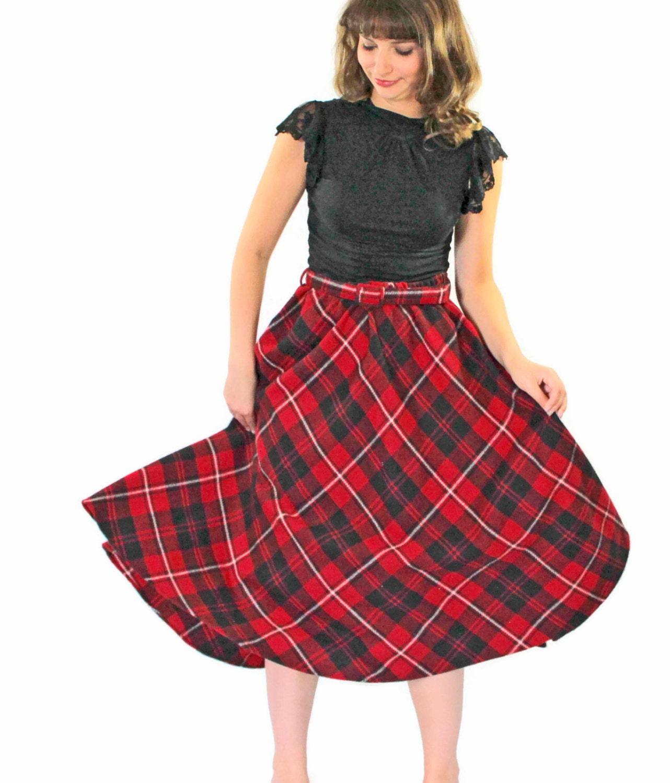 1960s plaid skirt black skirt midi skirt a line skirt