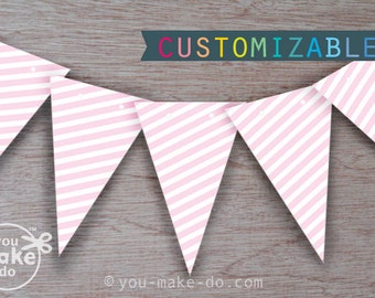 INSTANT DOWNLOAD pink party, girl baby shower, birthday banner, baby shower banner, pink baby shower, 1st birthday girl, girl birthday, pink