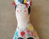 Large Frida Kahlo Tattooed Handmade Art Doll- Painted Plush- Painted OOAK- made to order soft sculpture