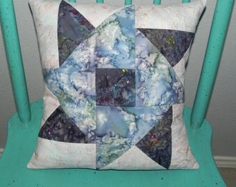 Ice Blue Pinwheel Quilted Pillow Cover