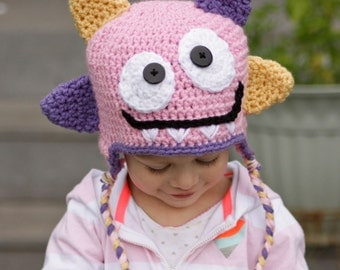 Happy Monster hat - Baby Girl Hat - Newborn Girl Hat - Girl Monster Hat