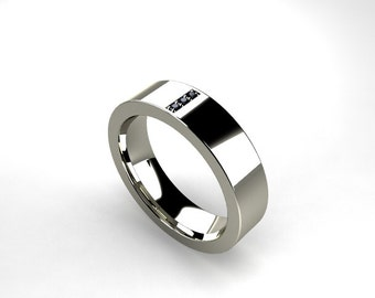 Palladium Ring Black Diamond Men Wedding Band Commitment