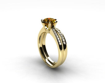 engagement ring set, citrine ring, Diamond band, wedding ring set, yellow, gold, pave, solitaire, diamond engagement, citrine