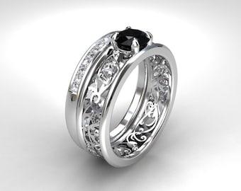 black diamond engagement set filigree ring diamond wedding band black diamond ring - Black Wedding Ring Set