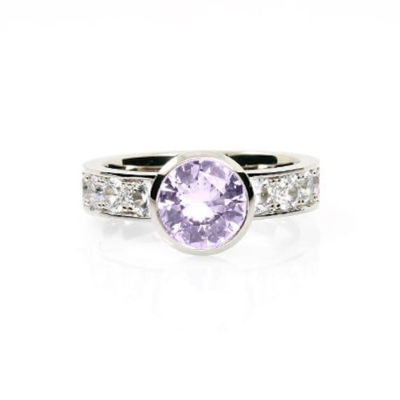light violet amethyst ring white sapphire engagement ring